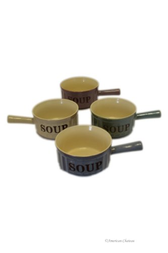 Set 4 Stoneware Assorted Colors 18oz French Onion Soup Crock Bowls with Handles