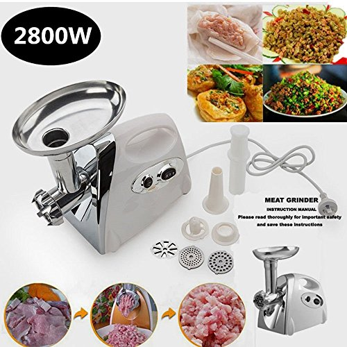 Generic Sausage Stufferteel 28 2800W Electric Luxury White Meat Grinder Mincer Stainless Steel Sausage Stuffer Luxury White Stainl