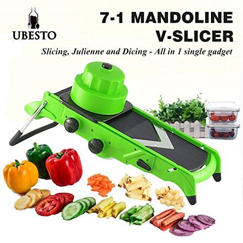 Ubesto Good Grips Mandoline Slicer – Adjustable Mandolin Food Slicer with Stainless Steel Blades - 7-in-1 Functions for Slicing Dicing Cubing and Julienne Fruit Slicer Vegetable V Slicer