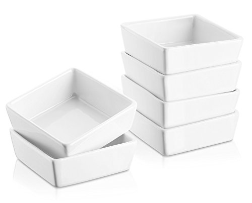 DOWAN 6oz Porcelain RamekinsSquare DessertDip Bowls - 6 Packs White