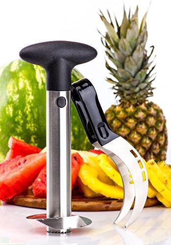 Watermelon slicer plus BONUS Pineapple Slicer Pie Cake Slicer Cutter Corer Tongs - 2-in-1Server Knife - Kid Friendly - Premium 430 Stainless Steel - Comfortable Non Slip Handle
