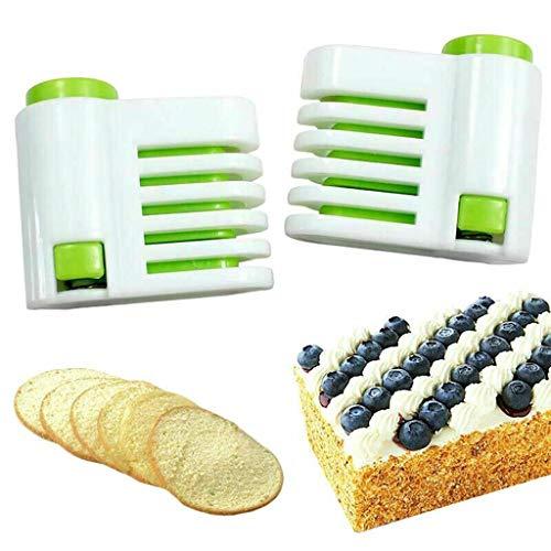 Kalmstore DIY Kitchen Tool Even-Cake Slicing Leveler 5 Layer Slicer Cutting Fixator Baking Pastry Cake Bread Tools Green