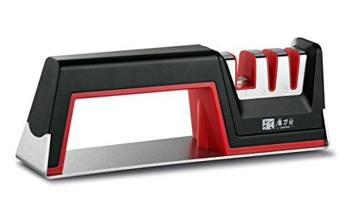 Knife Sharpener Sunvisk Household Multi-Function 3 Stage Knife sharpener for Kitchen Knives Bread Knives Scissors and Various Knives of Grinding Needs