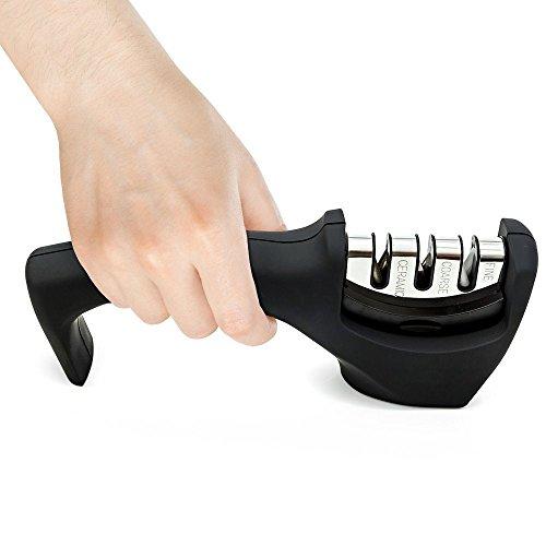 Knife Sharpener by Hard Crafts 3-Stage Sharpening System Sharpens Ceramic Steel Safety Conscious Handle Black