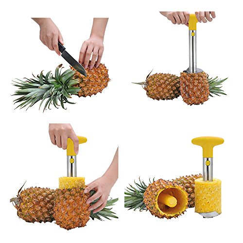 OHYIKA Stainless Steel Pineapple Slicer Pineapple Corer Peeler Cut Fruit Peeling Knife Kitchen Gadget Cutter -cut pineapple quick and easy without a knife YELLOW