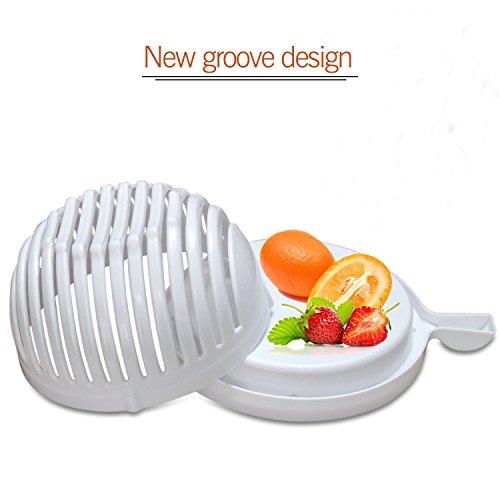 Salad Cutter Bowl - 60 Seconds Salad Maker Fruit Vegetable Bowl Cutter Strainer Dual Use White