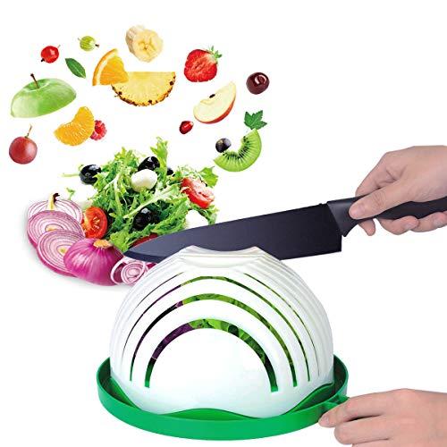 Salad Cutter Bowl Anglink Upgraded Salad Maker Family Size Fast Vegetable Cutter Bowl Salad Slicer Salad Chopper Strainer Cutting Board 4 in 1 Durable FDA-Approved for Kitchen