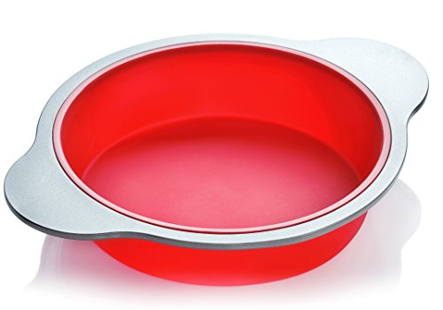 Silicone Round Cake Pan  Large 9-inch Baking Cake Mold by Boxiki Kitchen  Best Non-Stick Bakeware  FDA-Approved Silicone w Heavy Grade Steel Frame and Handles