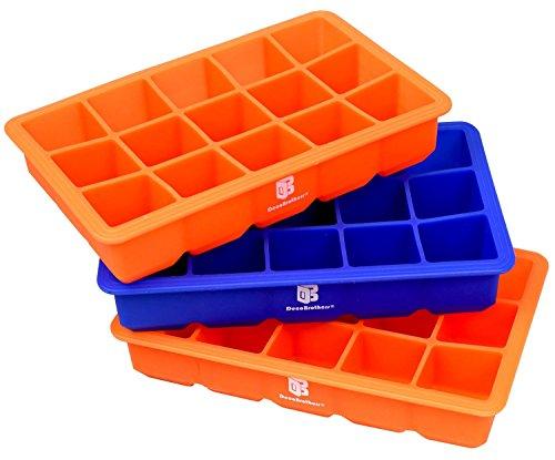 DecoBros 3 Pack Silicone Cube Ice Tray 2 Orange  1 Blue