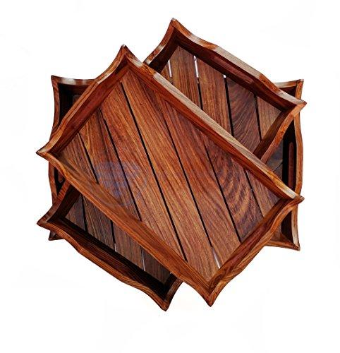 Large Rosewood Crafted Premium Wooden Serving Tray  Decorative Kitchen Dinner Serving Platter  Wood Craft Decor Gifts  Nagina International