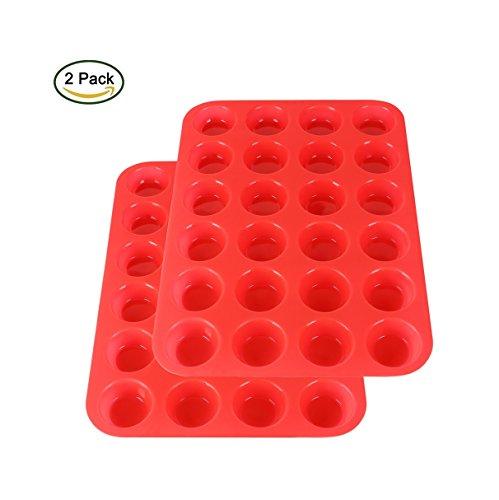 2Packs Silicone Mini Muffin Pan Suntake 24 Baking Cups Silicone Molds Cupcake Baking Pan Red
