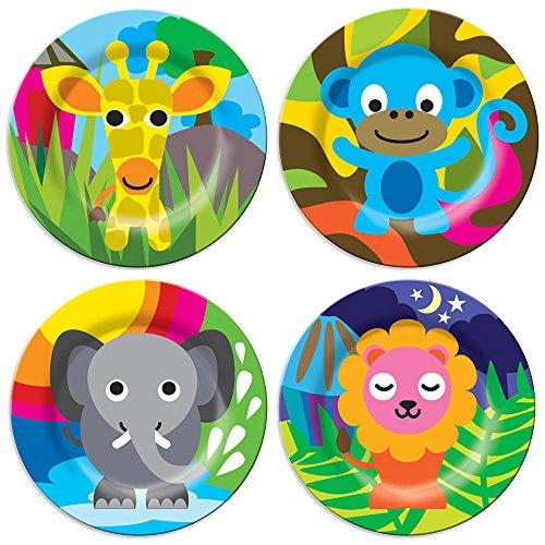 French Bull - BPA Free Kids Dinner Set - 8-Inch Melamine Kids Plate Set - Jungle Set of 4