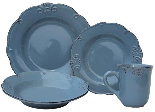Melange 16 Piece Antique Edge Stoneware Dinner Set Place Setting Serving for 4 Aqua