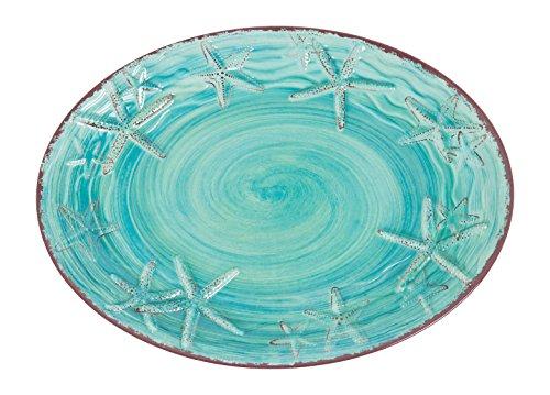 Galleyware Turquoise Raised Starfish Melamine Oval Platter