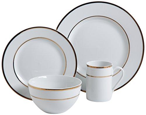 David Tutera 9898112RM 12 Piece Bainbridge Banded Porcelain Dinnerware Set GoldWhite