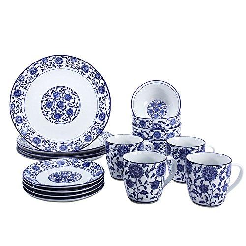 G-Store Porcelain Dinnerware Tatnall Street 16 Piece Dinnerware Set Service for 4 - Blue and White