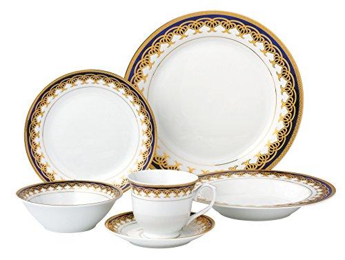 Lorren Home Trends 24 Piece Porcelain Dinnerware Set Iris Blue