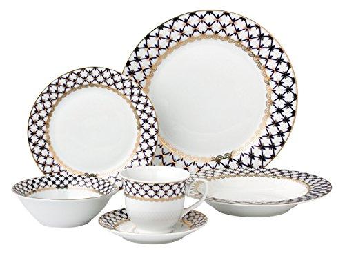 Lorren Home Trends 24 Piece Porcelain Dinnerware Set Tula Blue