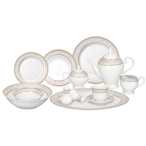 Lorren Home Trends 57-Piece Porcelain Dinnerware Set Giada Service for 8
