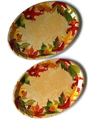 Fall Platter Bundle Thanksgiving Harvest Plastic Holiday Serving Plates Set 2