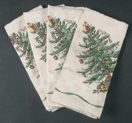 Spode Christmas Tree-Green Trim Set of 4 20 Cloth Napkin Fine China Dinnerware
