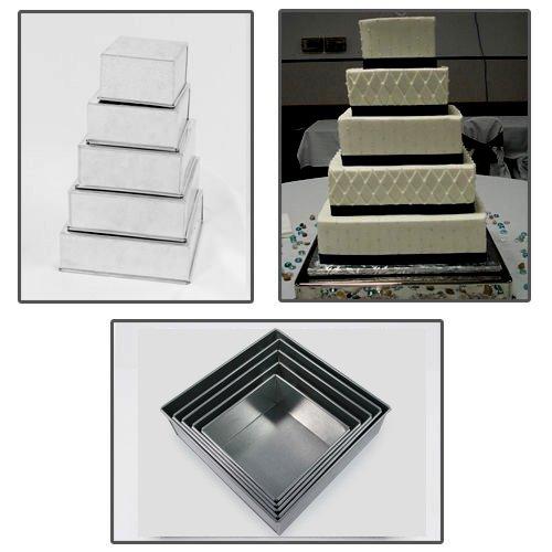 5 Tier Square Multilayer Wedding Birthday Anniversary Cake Baking Tins - Cake Pans 6 7 8 9 10 - EUROTINS