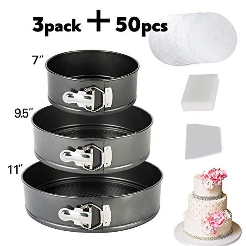 vplus Springform Pan Set3 Pieces Nonstick Bakeware Set Cake Pan Set with 50 Pcs Parchment Paper Liners