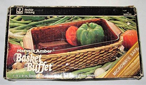 Vintage Anchor Hocking Harvest Amber 5x9 Inch Deep Loaf Dish Baking Pan w Basket