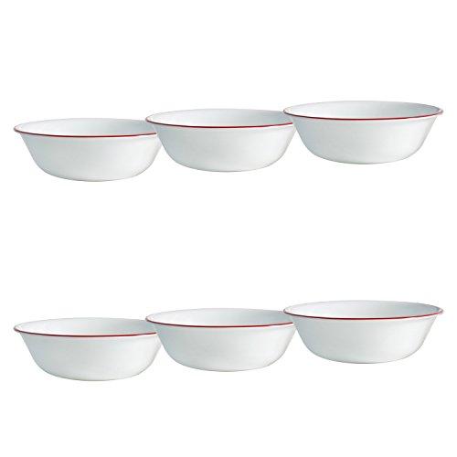 Corelle Livingware 6-Piece Ruby Red Bowls Set 18-Ounce White