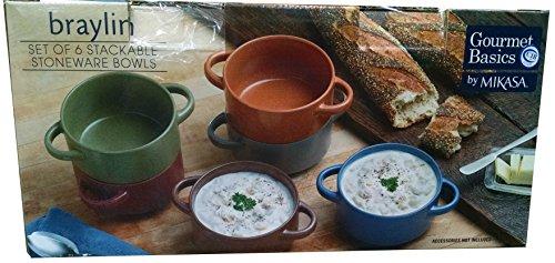 Stackable Stoneware Bowls Gourmet Basics by Mikasa Set of 6