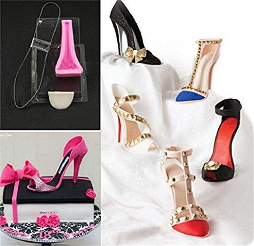Uniqstore High Heel Shoe Kit Fondant Mould Wedding Cake Decorating Silicone Mold Big Size