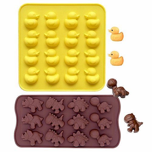 Food Grade Silicone Mold IHUIXINHE Non-Stick Ice Cube Mold Jelly Biscuits Chocolate Candy Cupcake Baking Mould Muffin Pan  Duck Dinosaur 2PCS