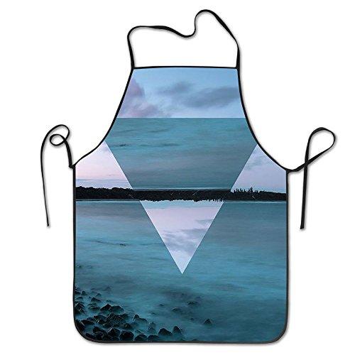 Geometric Space Reversed Sea Sky Novelty Baking Salon Apron 100 Polyester For Men Women