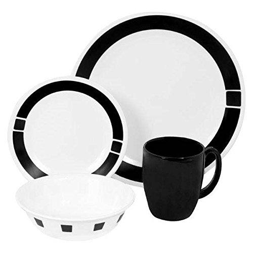 Corelle Livingware 16-Piece Dinnerware Set Urban Black Service for 4