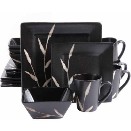 GibsonStudio 16 Piece Ceramic Natural Edge Square Dinnerware Set- Black