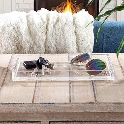 Lavish Home Acrylic Catchall Tray-Decorative Clear Rectangular Modern Minimalist Valet Organizer for Bedside Bathroom or Office Storage