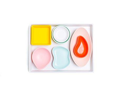 Sugar Cloth White Melamine Tray and Multicolor Condiment Cups Set 8 Pieces