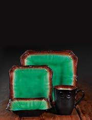Regal Jade Green Reactive Glaze 16 Piece Dinnerware Set