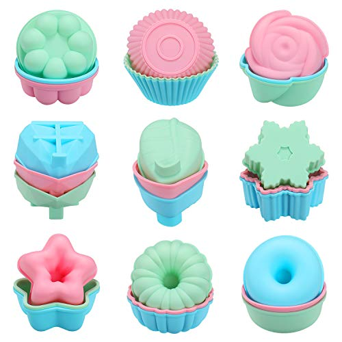 Houswill 27 Pcs Reusable Silicone Cupcake Baking Cups Muffin and Cupcake  Silicone Cupcake Liners Non-Stick Muffin Cups Molds Including Round Donut -9 Shape  Flower Food Grade Silicone