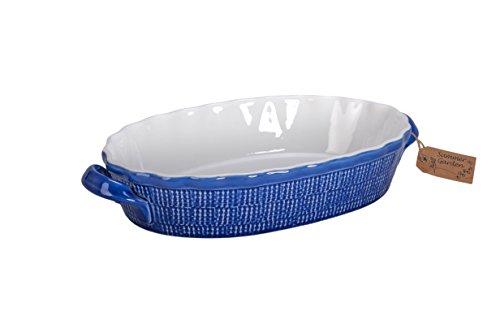 BIA Cordon Bleu Summer Garden 1325-Inch Oval Baker Dish with Handles BlueWhite