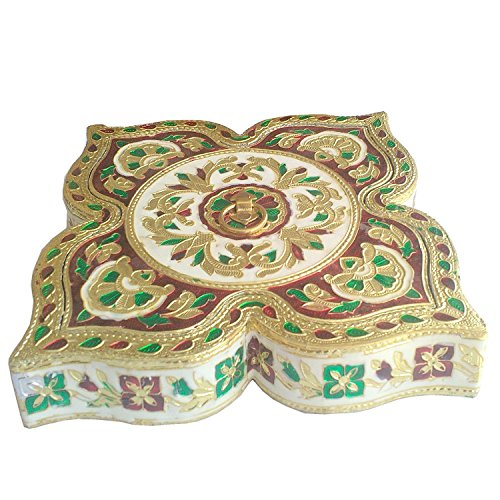 Serving Tray Decorative Platter Beautiful Snack Box with unique Meenakari work  Indian Handicraft_EB_Figur_047