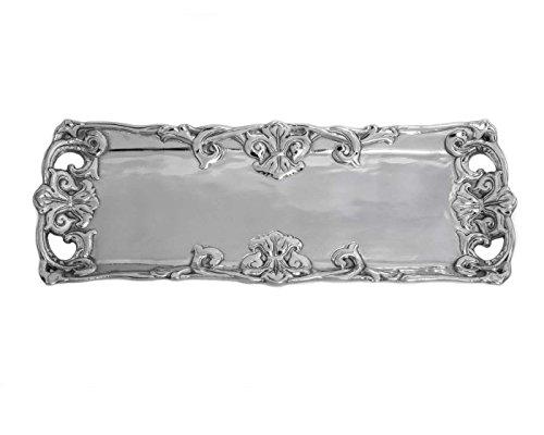 Arthur Court Designs Aluminum 17 x 6 Fleur-De-Lis Oblong Tray