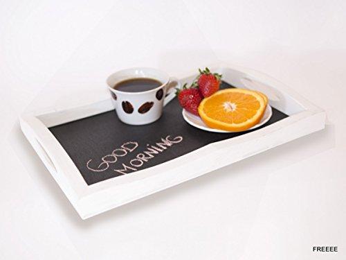 Wooden Serving tray Breakfast plate wood platter chalkboard platter Serving Salver White