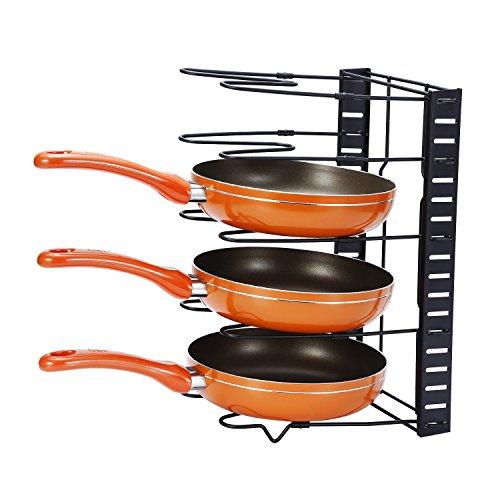 Cookware Rack Pan Pot Organizer Rack Pot Lid Holders GEYUEYA Home
