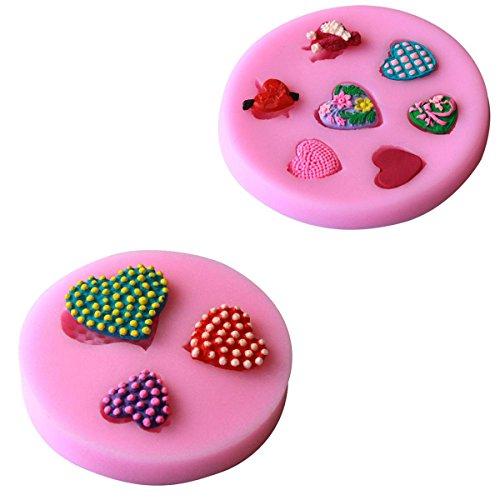 3sets DIY Cake Baking Mold Heart - Shaped Silicone Mold  set