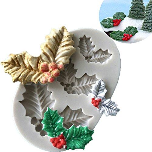 Anyana 3D mini Holly Leaf Christmas xmas mould cake Fondant biscuit gum paste mold for Sugar paste gumpaste cupcake decorating topper decoration sugarcraft decor