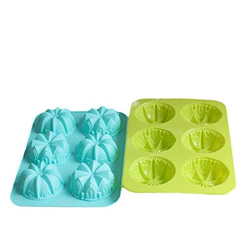 Viyo Christmas Cake Mold 6-Cavity Silicone Mold Ice Cube Cake Chocolate Cake Candy Molds Soap DIY Tools 2 Piece Random Color Size 175 285 35CM Flower-3