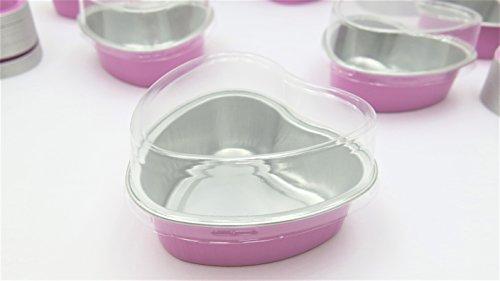 KitchenDance Disposable Aluminum Mini 35 ounce Heart Shaped Cake PansDessert Pans with Lids- Pack of 100 pans 100 lids Pink
