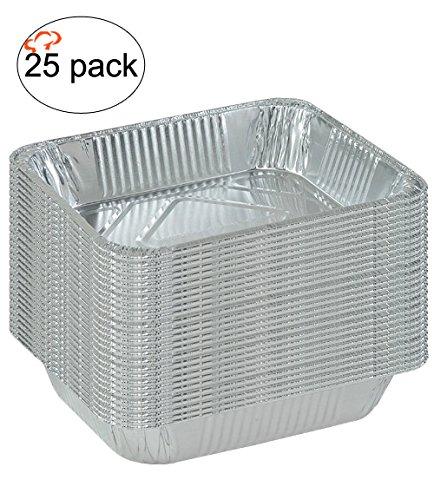 TigerChef TC-20528 Durable Half Size Deep Aluminum Foil Steam Table Pans with Recipe Card Multi-Purpose Disposable Pans 9 x 13 Size Pack of 25