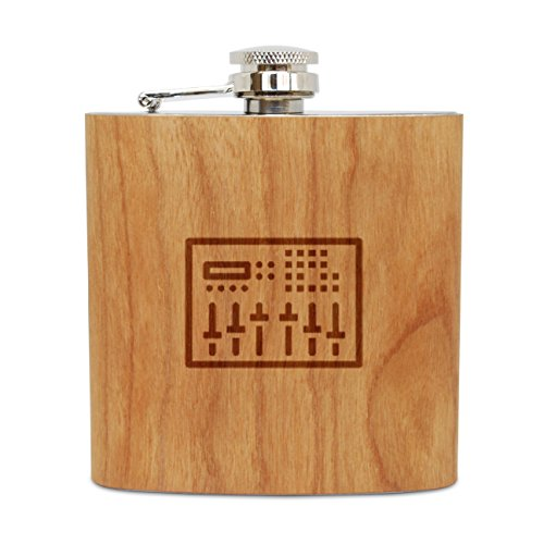 Sound Mixer 6 Oz Wooden Flask Cherry Stainless Steel Body Handmade In Usa
